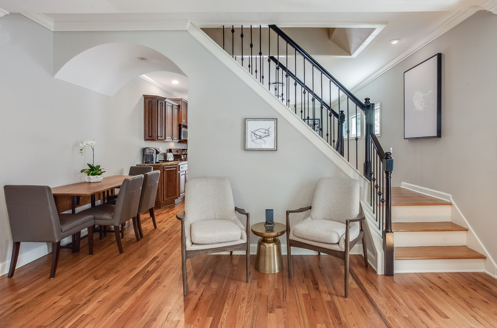 The Staircase, Chairs, Side Table, Dining Set, and the Kitchen.