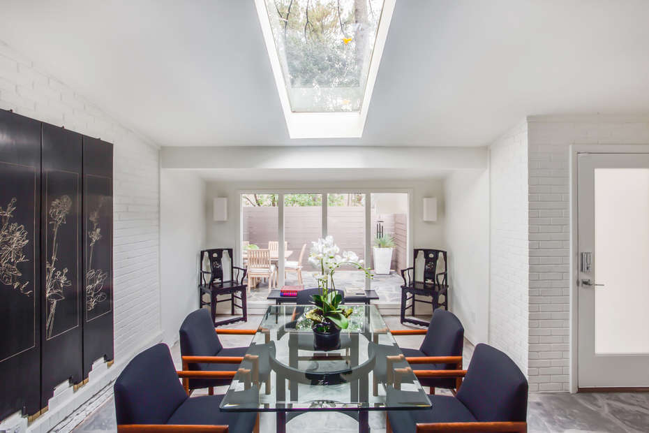 Dining Table, Chairs, Seating Area with Coffee Table and Chairs.