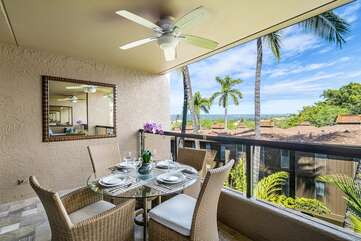 Spacious lanai offer outdoor dining and ocean views!