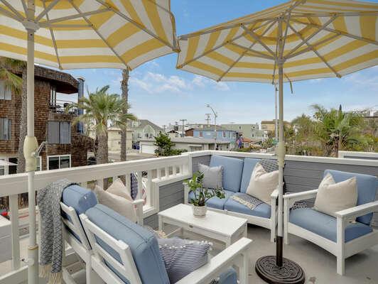 Private Upper Level Balcony w/ BBQ + Umbrellas - Second Floor