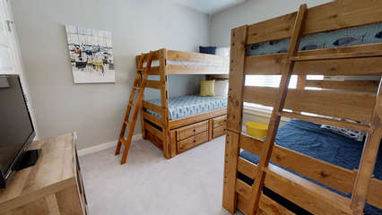 3rd floor Bunk Room with flat screen TV and DVD