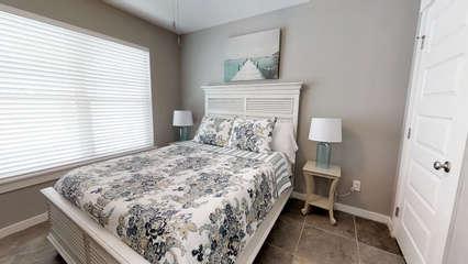 1st Floor QUEEN Bedroom with large flat screen TV