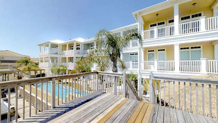 Upper deck overlooking pool and townhomes