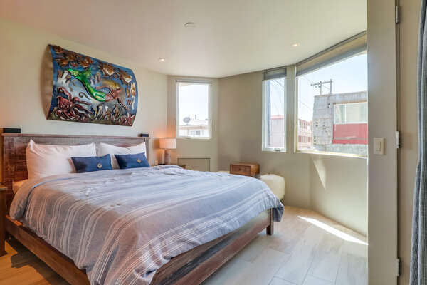 Guest Bedroom with Queen Bed and great views.