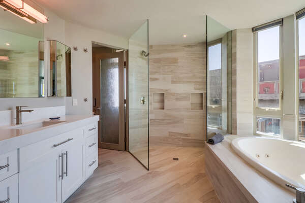 Master Bathroom with walk in shower, spa tub, and vanity sink.