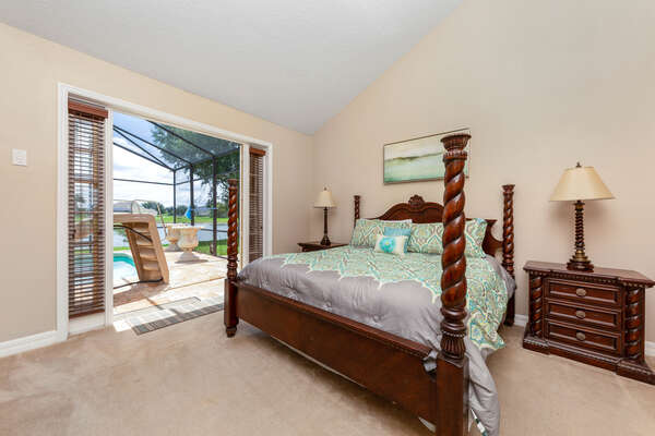 This master bedroom has a private pathway to the pool area