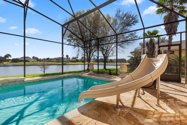 Take advantage of your own private pool with a slide