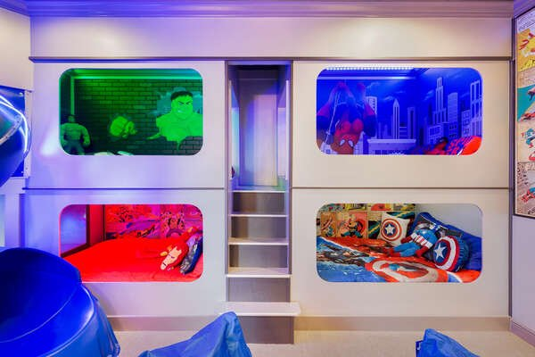 These custom built full size bunk beds will simply wow the kids