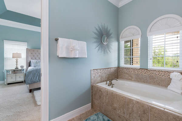 The garden tub is perfect for relaxing in