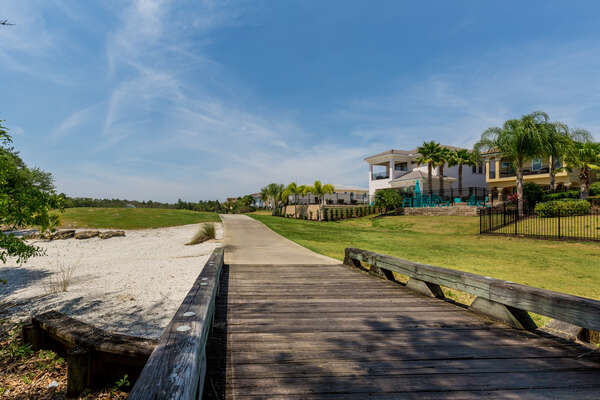 The home is located right off the golf course