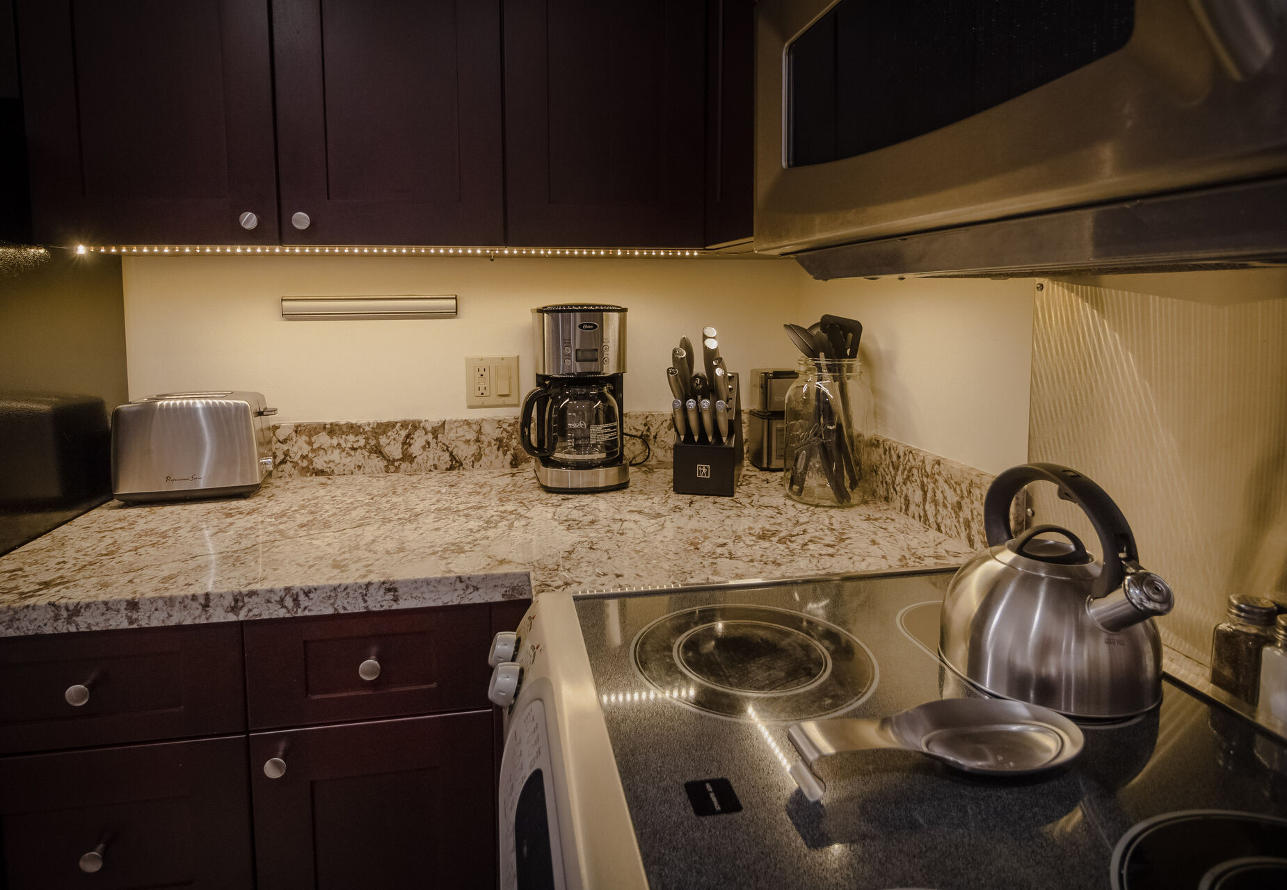 Kitchen counter and oven.