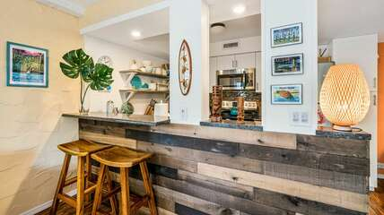 Bar-style seating in the kitchen.