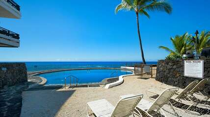 20 feet from the condo to the ocean to a lava-rimmed salt water pool