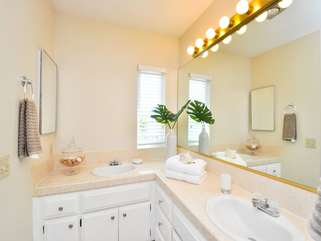 Two vanities, bright and clean