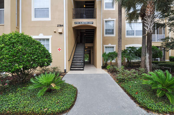 Walkway to your condo, with both stair and elevator access