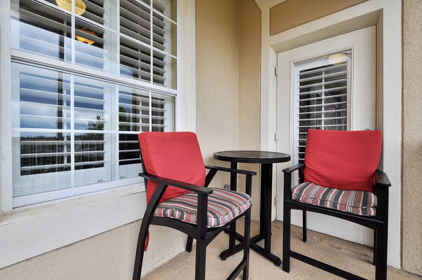The balcony is completely screened-in and features a prime view of beautiful Florida sunsets