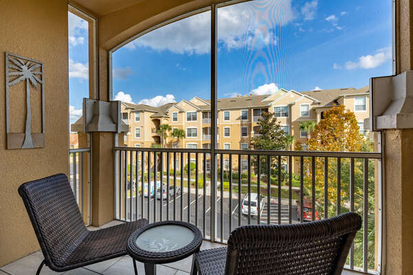 The 3rd floor location offers plenty of privacy complete with comfortable outdoor patio furniture