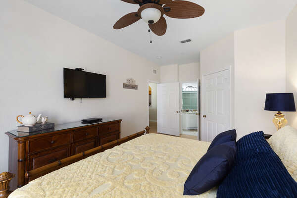 Relax in the gorgeous and spacious master bedroom