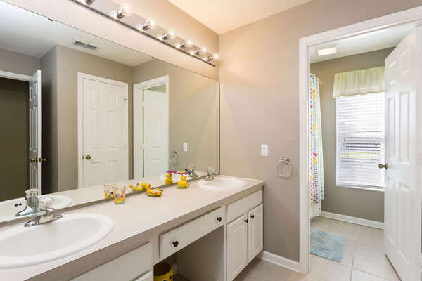 Jack and Jill style family bathroom