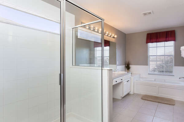 Master bath with walkin shower