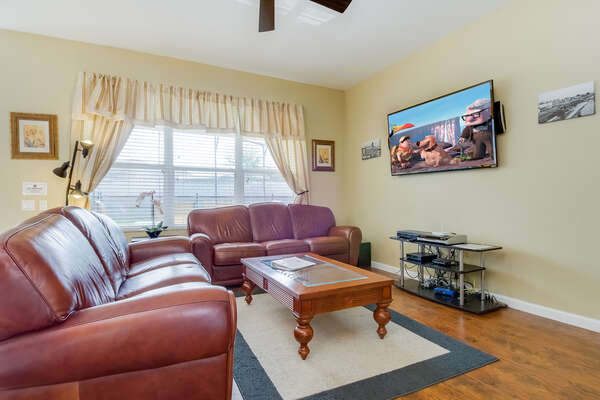Comfortable family seating around the flat screen TV