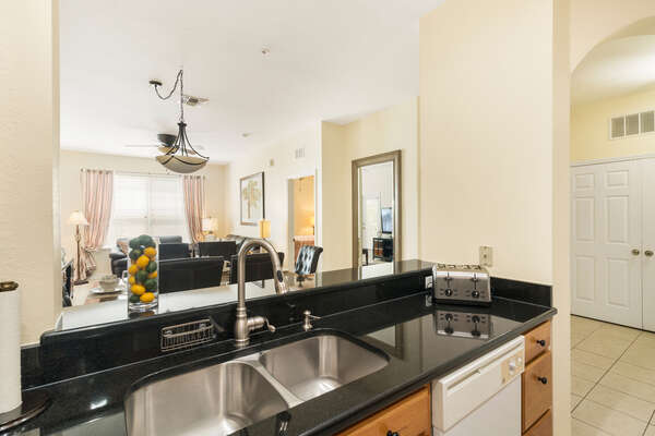 Fully equipped kitchen with an open living space