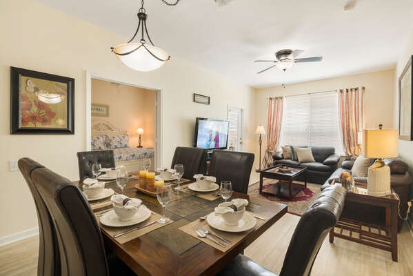 Open view from the dining area to bedrooms