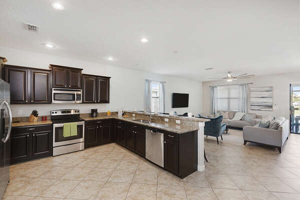Large kitchen space fully equipped with everything you need