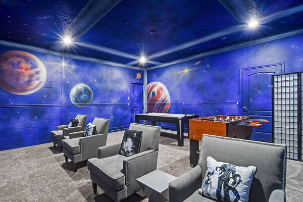 Play all day in this cool galactic game room