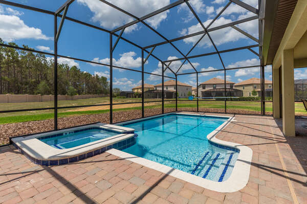 The west facing pool is perfect for extra Florida sun while on vacation
