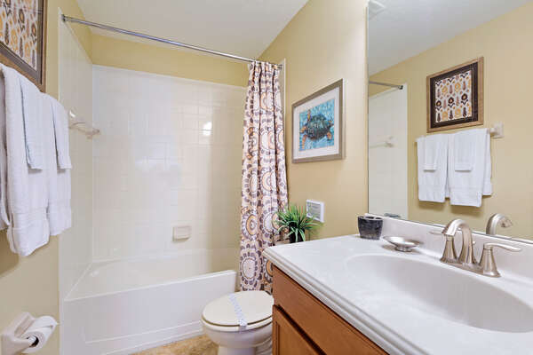 A full bathroom located on the second floor