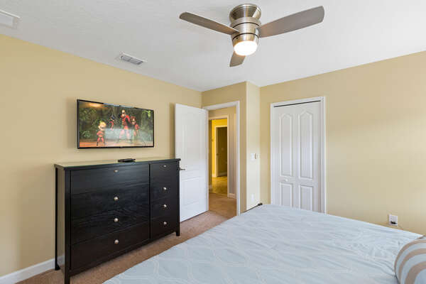 This bedroom features a SMART TV