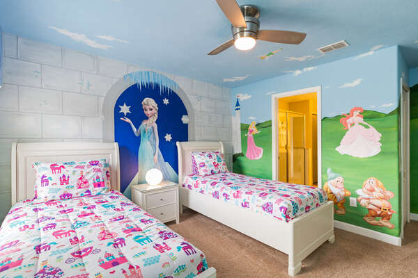 The second kids bedroom with two twin beds is perfect for little princesses