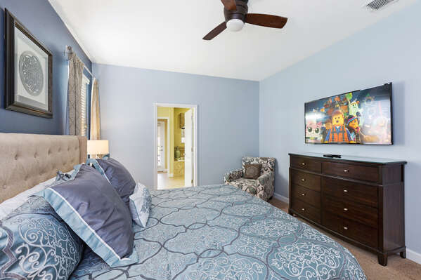 The master bedroom has its own SMART TV
