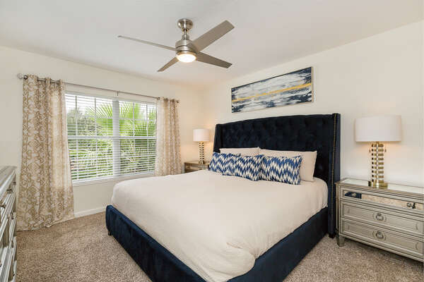 Second floor master suite features a king bed