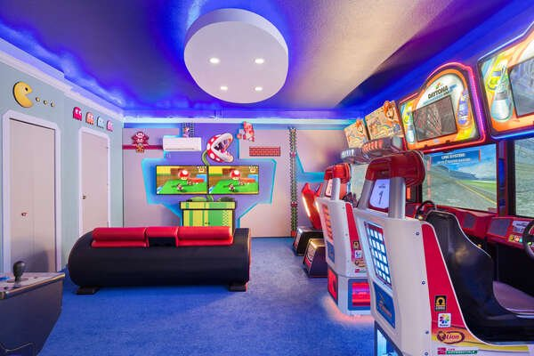 Choose from a variety of arcade machines in this amazing games room