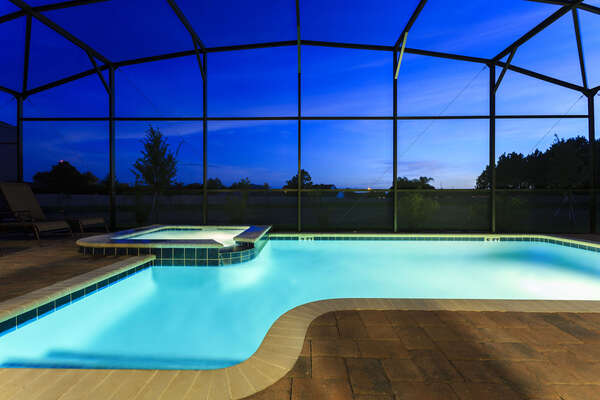 Nights spent by your private pool are perfect for relaxing on vacation