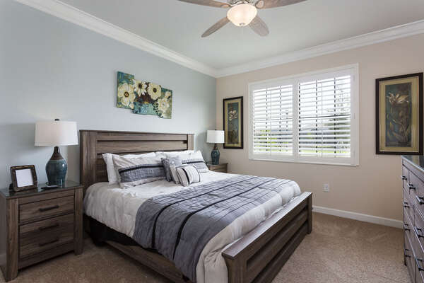 This master suite is located on the first floor with a king bed