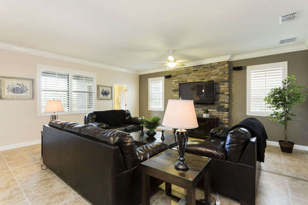 The whole family can relax together on the plush comfortable couches in the living room