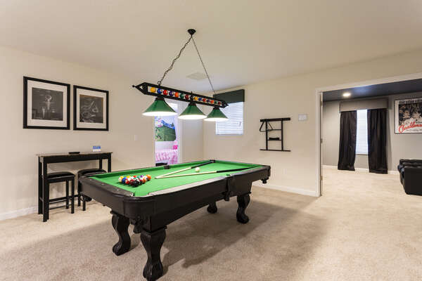 The games loft is perfect for challenging your family members to a fun game of pool