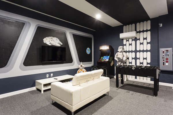 Space-themed games room with custom touches everywhere