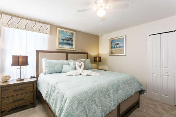 This comfortable King bedroom is located upstairs