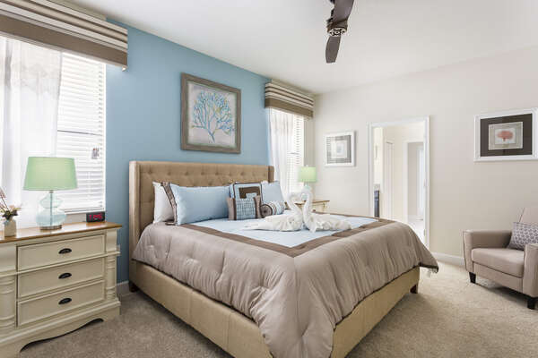 Sleep easy in the first floor master suite with a king bed