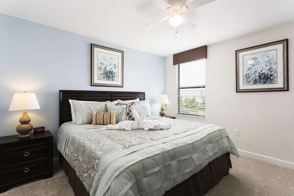 Second floor bedroom with a king sized bed