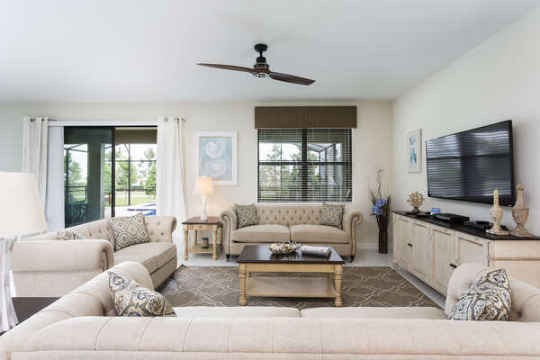 Spend time as a family in the open living space watching your favorite show