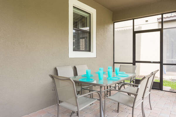 With two outdoor tables seating 6 each, 12 guests can enjoy outdoor meals together