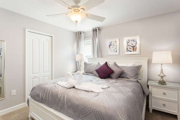 Second floor bedroom with a king bed