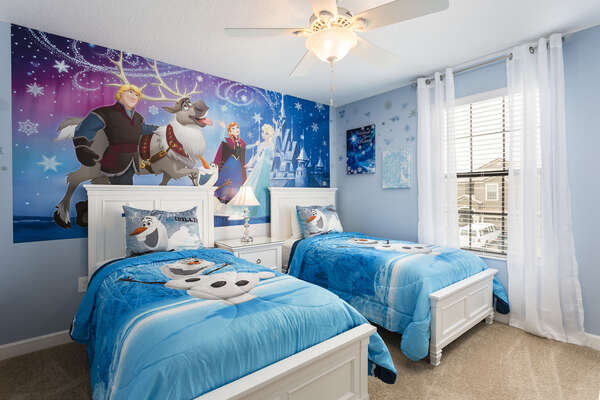 Every little princess will sleep easy in this bedroom with two twin beds