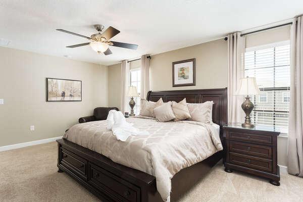 Sleep easy in this spacious king bedroom