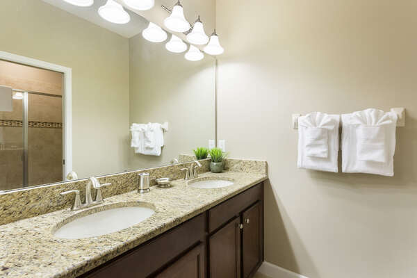 The ensuite master bathroom on the first floor